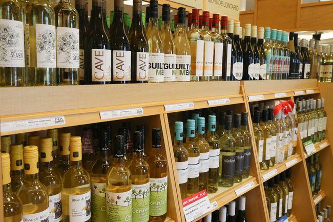 Wine bottles on display at an LCBO in Toronto. (Veronica Henri/Toronto Sun)