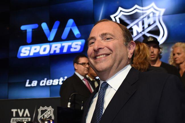 NHL Commissioner Gary Bettman attends the TVA Sports broadcast announcement near Montreal on Wednesday, Sept. 3, 2014. (Sebastien St. Jean/QMI Agency)