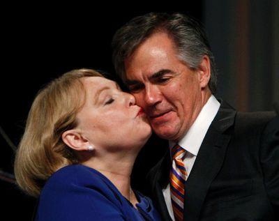 Karen Prentice kisses her husband Jim after he was announced as the winner of the 2014 Progressive Conservative Association of Alberta leadership election at Edmonton Expo Centre in Edmonton, Alta., on Saturday, Sept 6, 2014. Tom Braid/Edmonton Sun/QMI Agency