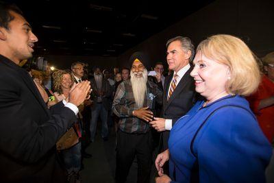 Jim Prentice (right) and wife Karen celebrate winning the first ballot of the 2014 PC Leadership Vote at the Edmonton Expo Centre in Edmonton, Alta., on Saturday, Sept. 6, 2014. Prentice becomes Alberta premier designate. Ian Kucerak/Edmonton Sun/ QMI Agency