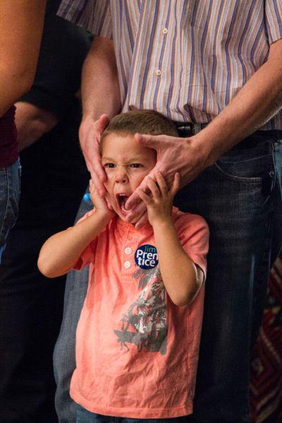 A young PC supporter is seen during the 2014 PC Leadership Vote at the Edmonton Expo Centre in Edmonton, Alta., on Saturday, Sept. 6, 2014. Jim Prentice becomes Alberta premier designate. Ian Kucerak/Edmonton Sun/ QMI Agency
