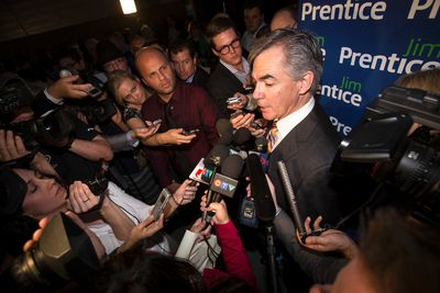 Jim Prentice answers questions after winning the first ballot of the 2014 PC Leadership Vote at the Edmonton Expo Centre in Edmonton, Alta., on Saturday, Sept. 6, 2014. Prentice becomes Alberta premier designate. Ian Kucerak/Edmonton Sun/ QMI Agency