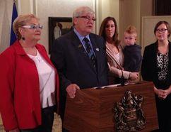 Premier Dave Hancock announcing his retirement from politics. (EDMONTON SUN PHOTO)