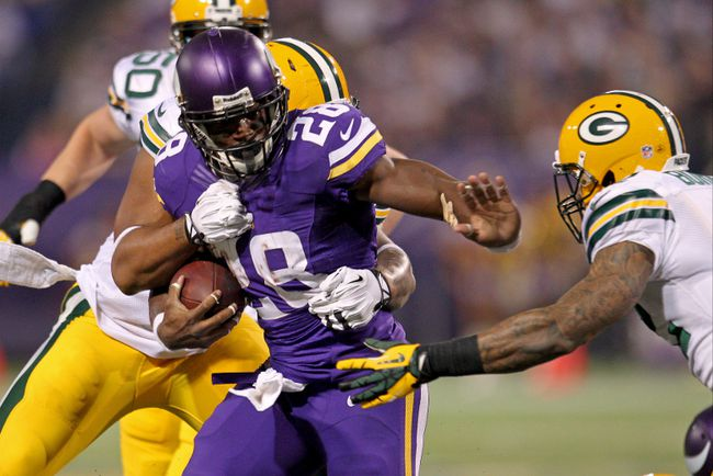 Vikings running back Adrian Peterson.(Brace Hemmelgarn/USA TODAY Sports)