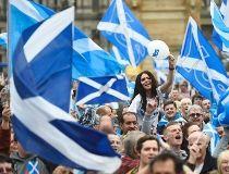 Campaigners wave Scottish Saltires