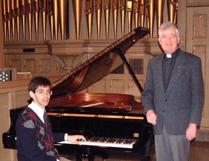 Steve Mallinger (left) and Very Rev. Garry Dobinson in 2002.