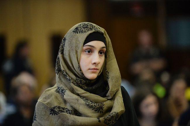 Ailina Tsarnaev, sister of the accused Boston Marathon bombers appears in New York Criminal Court in Manhattan, N.Y., September 30, 2014. (REUTERS/Steven Hirsch/Pool)