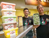 Matt and Jeff Swann of Coppa Di Gelato show off their cool treats at Farm Boy in London Tuesday. Coppa di Gelato has a 6,000-sq.-ft. plant in Strathroy. (CRAIG GLOVER/The London Free Press)