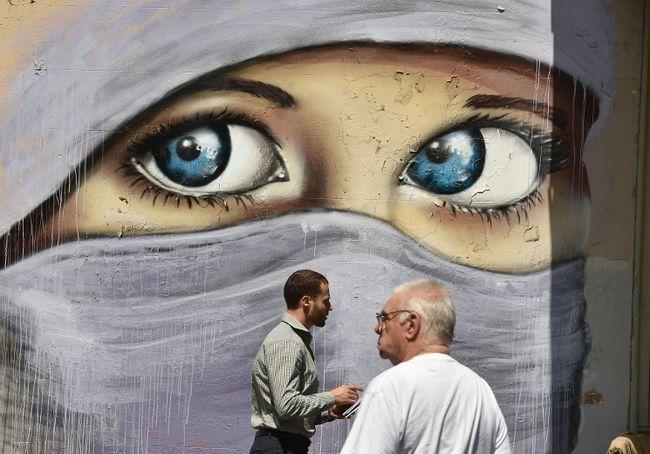 mural of a Muslim woman