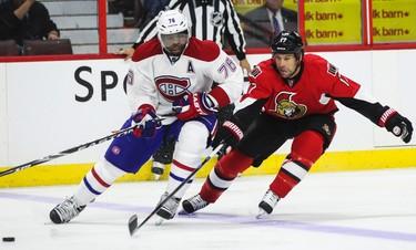 Ottawa Senators' David Legwand pursues Montreal Canadiens' P.K. Subban during NHL pre-season hockey action at the Canadian Tire Centre in Ottawa, Ontario on Friday October 3, 2014. Errol McGihon/Ottawa Sun/QMI Agency