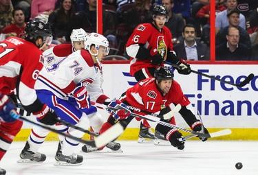 Ottawa Senators' David Legwand dives for a loose puck against the Montreal Canadiens'  during NHL pre-season hockey action at the Canadian Tire Centre in Ottawa, Ontario on Friday October 3, 2014. Errol McGihon/Ottawa Sun/QMI Agency