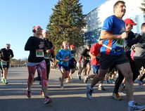 The annual Thanks for Giving Run was held in Winkler on Oct. 11 drawing upwards of 150 runners. (GREG VANDERMEULEN/Winkler Times)