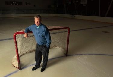 Hockey hall of fame coach Brian Kilrea poses for a photo at the Brian Kilrea Arena Ottawa Wednesday Oct 15,  2014. The legendary Brian Kilrea will be celebrating his 80th birthday by coaching behind the Ottawa 67's bench Friday Oct 17th. Tony Caldwell/Ottawa Sun/QMI Agency