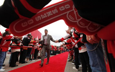 The Ottawa Senators players and fans celebrated their home opener at Canadian Tire Centre in Ottawa Thursday Oct 16,  2014.  Ottawa Senator Clarke McArthur walks the red carpet Thursday night. Tony Caldwell/Ottawa Sun/QMI Agency
