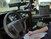 A photo radar van out to catch speeders.