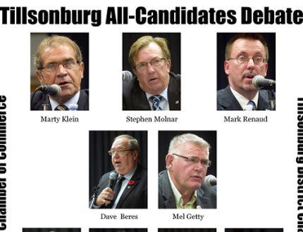 Tillsonburg's All-Candidates Debate at the Tillsonburg Community Centre, Thursday, Oct. 16, hosted by Tillsonburg District Chamber of Commerce was attended by about 300 people. (CHRIS ABBOTT/TILLSONBURG NEWS)