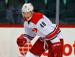 Carolina Hurricanes Brody Sutter during NHL hockey in Calgary, Alta. on Thursday October 23, 2014. Al Charest/Calgary Sun/QMI Agency