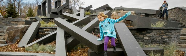 Seren Platt River Passage public art installation next to Harvie Passage at Pearce Estate Park