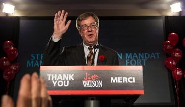 Jim Watson after being elected again as Mayor of Ottawa. October 27, 2014. Errol McGihon/Ottawa Sun/QMI Agency