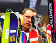 Dave Burkinshaw inspects skis at the 2012 Nitehawk Ski, Board and Bike Swap. AARON HINKS/DAILY HERALD-TRIBUNE/QMI AGENCY