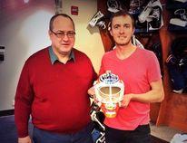 Oilers goaltender Ben Scrivens (right) poses with Richard Boulet, the designer of his new goalie mask. - Photo courtesy the Edmonton Oilers