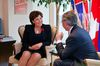 Alberta Premier Jim Prentice (R) meets with B.C Premier Christy Clark in Vancouver, British Columbia November 3, 2014. REUTERS/Ben Nelms