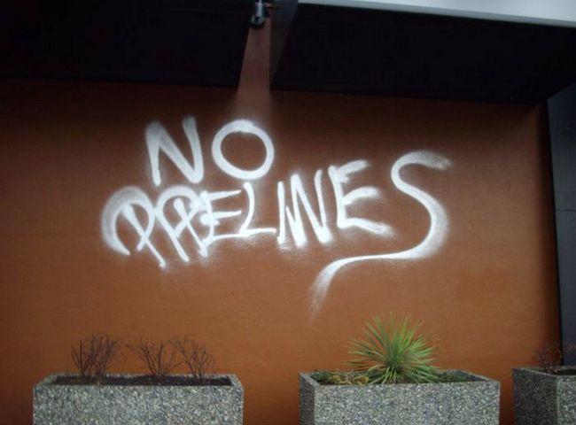Anti-pipeline protest graffiti. (SCREENGRAB)
