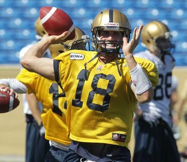 QB Justin Goltz throws at Winnipeg Blue Bombers football training camp at Canad Inns Stadium on Mon., June 4, 2012. JASON HALSTEAD/WINNIPEG SUN QMI AGENCY
