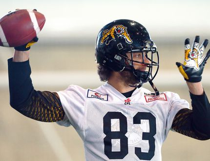 Hamilton Tiger-Cats slotback Andy Fantuz of Chatham. (DAVE ABEL/Toronto Sun)