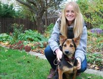 Canadian model Meagan Penman after paraplegic dog Leo was brought back to Canada. (Facebook)
