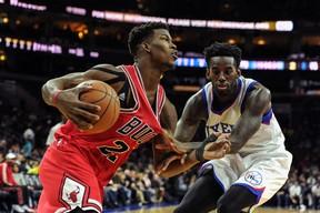 76ers forward JaKarr Sampson (right) fouls Bulls guard Jimmy Butler. Butler is having a breakout season for the Bulls. (USA TODAY)