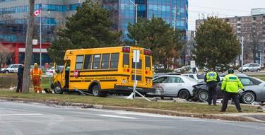 A school bus accident on Sinnott Rd., near Eglinton Ave. E. and Birchmount Rd., in Toronto, Ont. on Tuesday December 2, 2014. (Ernest Doroszuk/Toronto Sun)