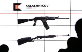 A presentation of the new Kalashnikov logo and AK-47 assault rifle design in Moscow, Russia, Dec. 2, 2014. (VASILY MAXIMOV/AFP)