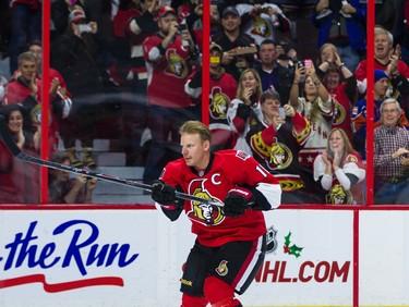 Daniel Alfredsson skates with the Ottawa Senators one last time in Ottawa on Thursday December 4, 2014. Errol McGihon/Ottawa Sun/QMI Agency