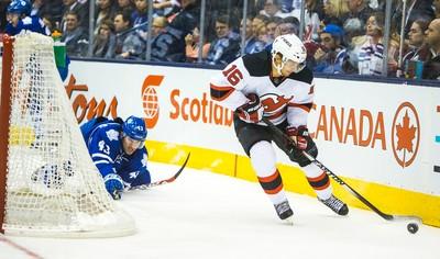 Toronto Maple Leafs  Nazem Kadri and New Jersey Devils Jacob Josefson  during 3rd period at the Air Canada Centre in Toronto on ThursdayDecember 4, 2014. Ernest Doroszuk/Toronto Sun/QMI Agency
