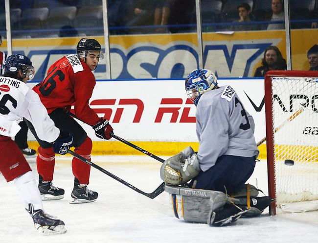 Nick Baptiste of Team Canada tries to score against the CIS all-stars in Toronto on Sunday, Dec. 14, 2014. (Michael Peake/Toronto Sun/QMI Agency)