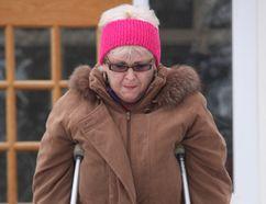 Maria (Tony) Farrell leaves Orillia court house. (Tracy McLaughlin photo)