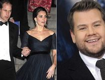 Prince William, Duchess Kate and James Corden. (WENN.com)