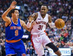 Raptors' Terrence Ross drives against New York Knicks' Pablo Prigioni on Dec. 20. (Ernest Doroszuk, Toronto Sun)