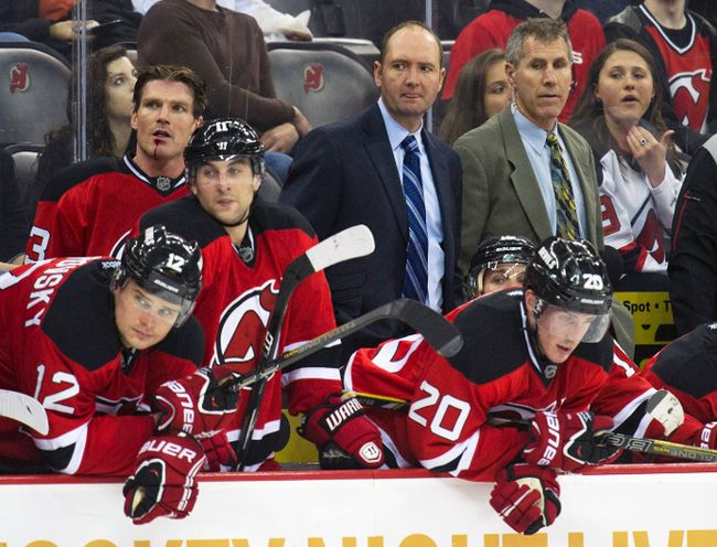 Former New Jersey Devils head coach Peter DeBoer (C). (REUTERS/Ray Stubblebine)