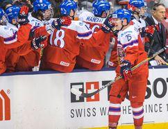 Czech Republic forward Ondrej Kase celebrates his goal against Russia during the third period of the World Junior Championship in Toronto on Wednesday, Dec. 31, 2014. (Ernest Doroszuk/QMI Agency)