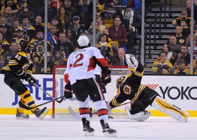 Jan 3, 2015; Boston, MA, USA; Ottawa Senators right wing Bobby Ryan (6) (not pictured) scores the game-winning goal during overtime past Boston Bruins goalie Tuukka Rask (40) at TD Banknorth Garden. Mandatory Credit: Bob DeChiara-USA TODAY Sports
