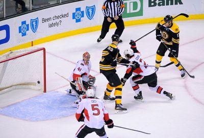 Jan 3, 2015; Boston, MA, USA; Boston Bruins defenseman Torey Krug (47) (not pictured) scores a power play goal past Ottawa Senators goalie Craig Anderson (41) during the second period at TD Banknorth Garden. Mandatory Credit: Bob DeChiara-USA TODAY Sports