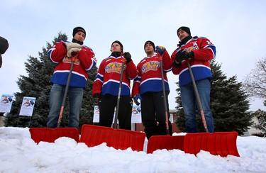 Edmonton Oil Kings help launch 2015 Snow Angels program in Edmonton, Alta., on Wednesday Jan.7, 2015.  Perry Mah/Edmonton Sun/QMI Agency