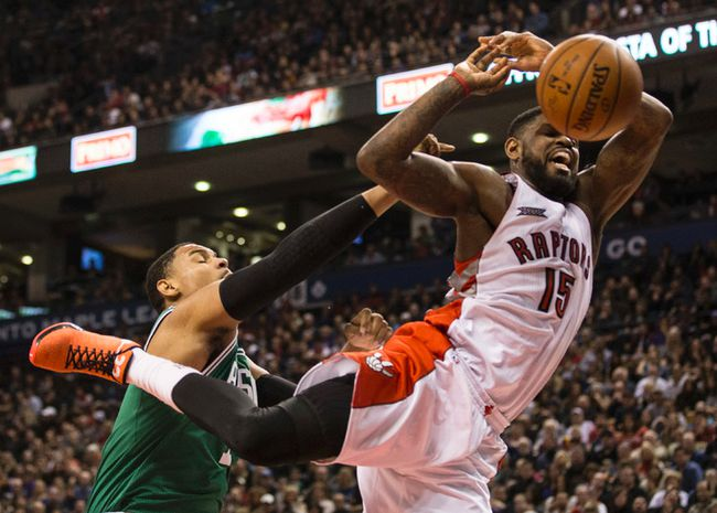 Celtics' Jared Sullinger brings down the hammer on the Raptors' Amir Johnson during the first half at the ACC last night. (Craig Robertson/Toronto Sun)