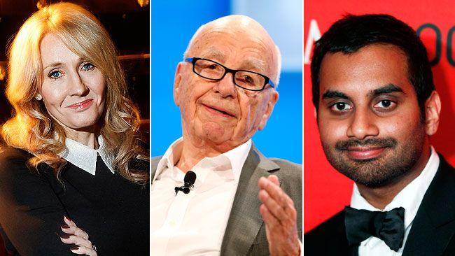 J.K. Rowling, Rupert Murdoch and Aziz Ansari. (REUTERS PHOTOS)