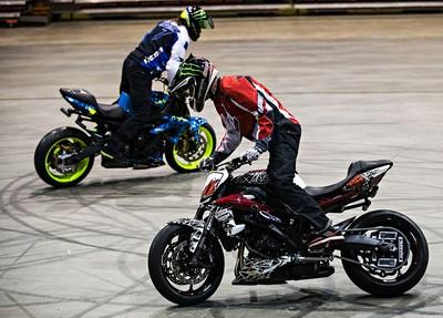 "Nick ""Apex"" Brocha, left, and Ernie ""Edub"" Vigil, right, perform stunts during the Evolution of Extreme trick riding event during the 2015 Motorcycle and ATV Show Edmonton at the Edmonton Expo Centre in Edmonton, Alta., on Friday, Jan. 16, 2015. Codie McLachlan/Edmonton Sun/QMI Agency"