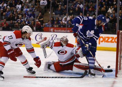 Nazem Kadri almost scores on Anton Khudobin as Maple Leafs host the Carolina Hurricanes at the Air Canada Centre in Toronto on Monday January 19, 2015. Michael Peake/Toronto Sun/QMI Agency