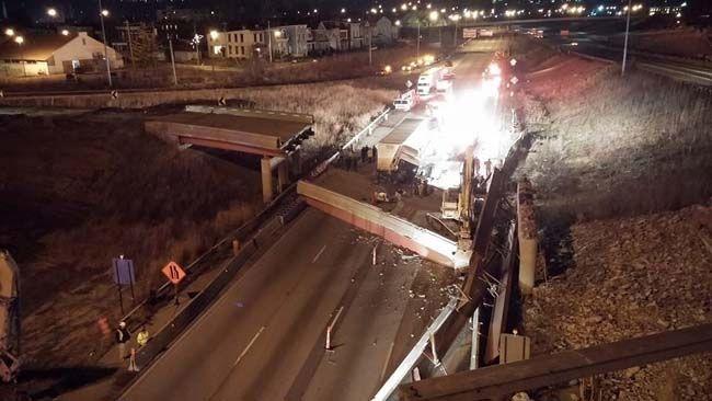 An overpass collapsed in Cincinnati killing a construction worker Tuesday, Jan. 20. (Cincinnati Fire Department Facebook)