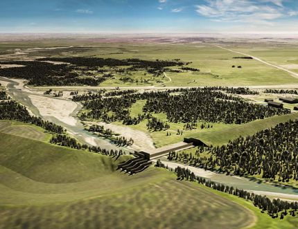 Artist concept of Springbank Off-Stream Reservoir.